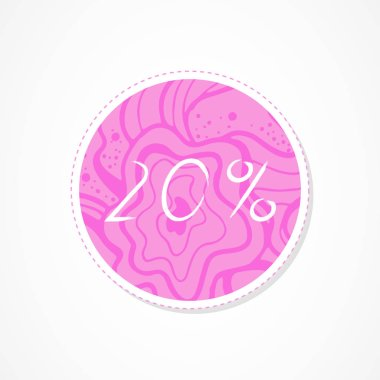 20 percent discounts inscription on decorative round backgrounds with floral pattern. Hand drawn lettering. Vector illustration.