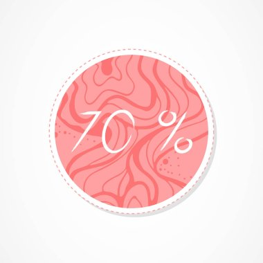 70 percent discounts inscription on decorative round backgrounds with floral pattern. Hand drawn lettering. Vector illustration.