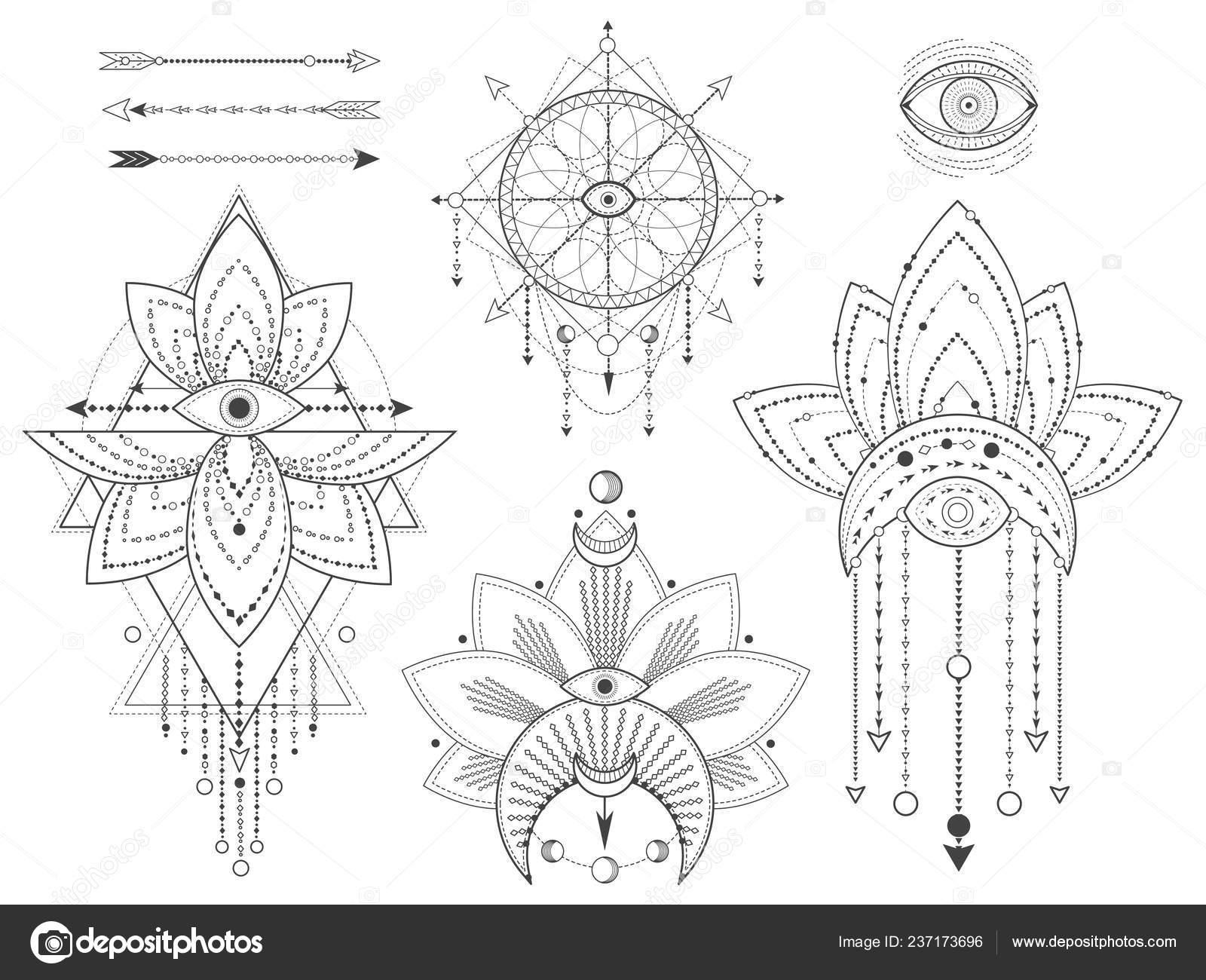 Vector Set Sacred Geometric Natural Symbols White Background