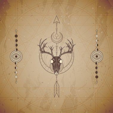 Vector illustration with hand drawn deer skull and Sacred geometric symbol on vintage paper background. Abstract mystic sign.