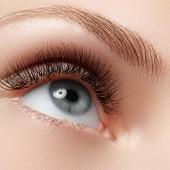 Detailní záběr oka modré žena s krásnou hnědou s odstíny kouřové oči make-up. Moderní módní make-upu. Nahé líčení. Čistá pleť, dlouhé řasy