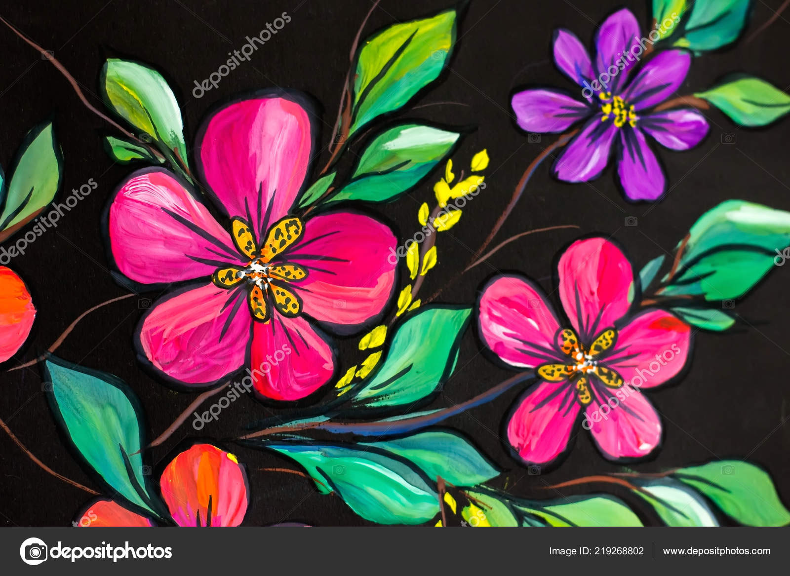 Flowers Illustration Black Background Oil Painting Impressionism Style Flower Painting Stock Photo Image By C Koliadzynskairyna 219268802
