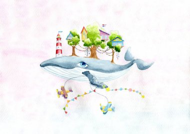 Fairy whale with a little town on the back and airplanes in sky.Watercolor hand drawn illustration.