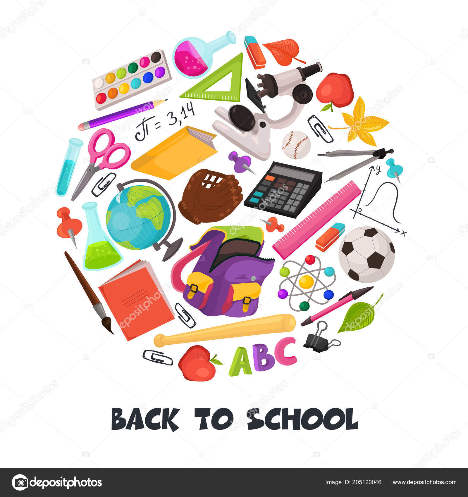 5ba16392fb Το χέρι συντάσσονται σχολείο αντικείμενα σε στρογγυλή σύνθεση.  Εικονογράφηση φορέα εκπαίδευσης στοιχεία σχεδιασμού που απομονώνονται σε  λευκό φόντο.