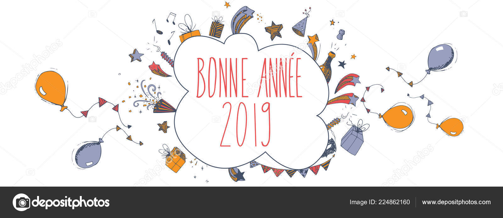 french happy new year 2019 vector large banner stock vector