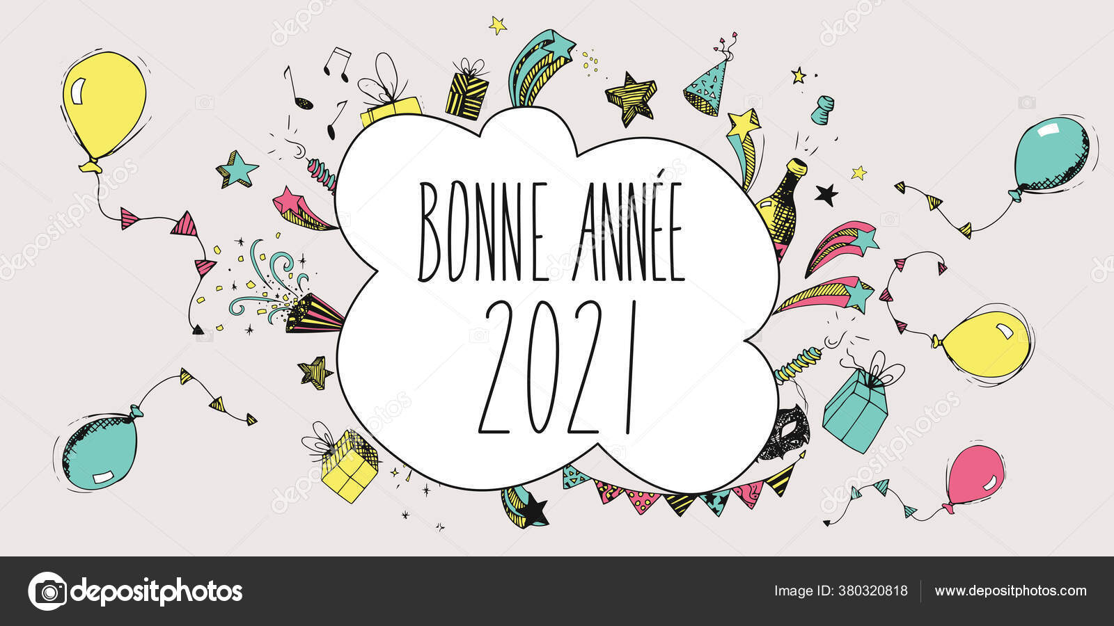 Carte Voeux Illustree Bonne Annee 2021 Stock Photo Image By C Orkidia 380320818