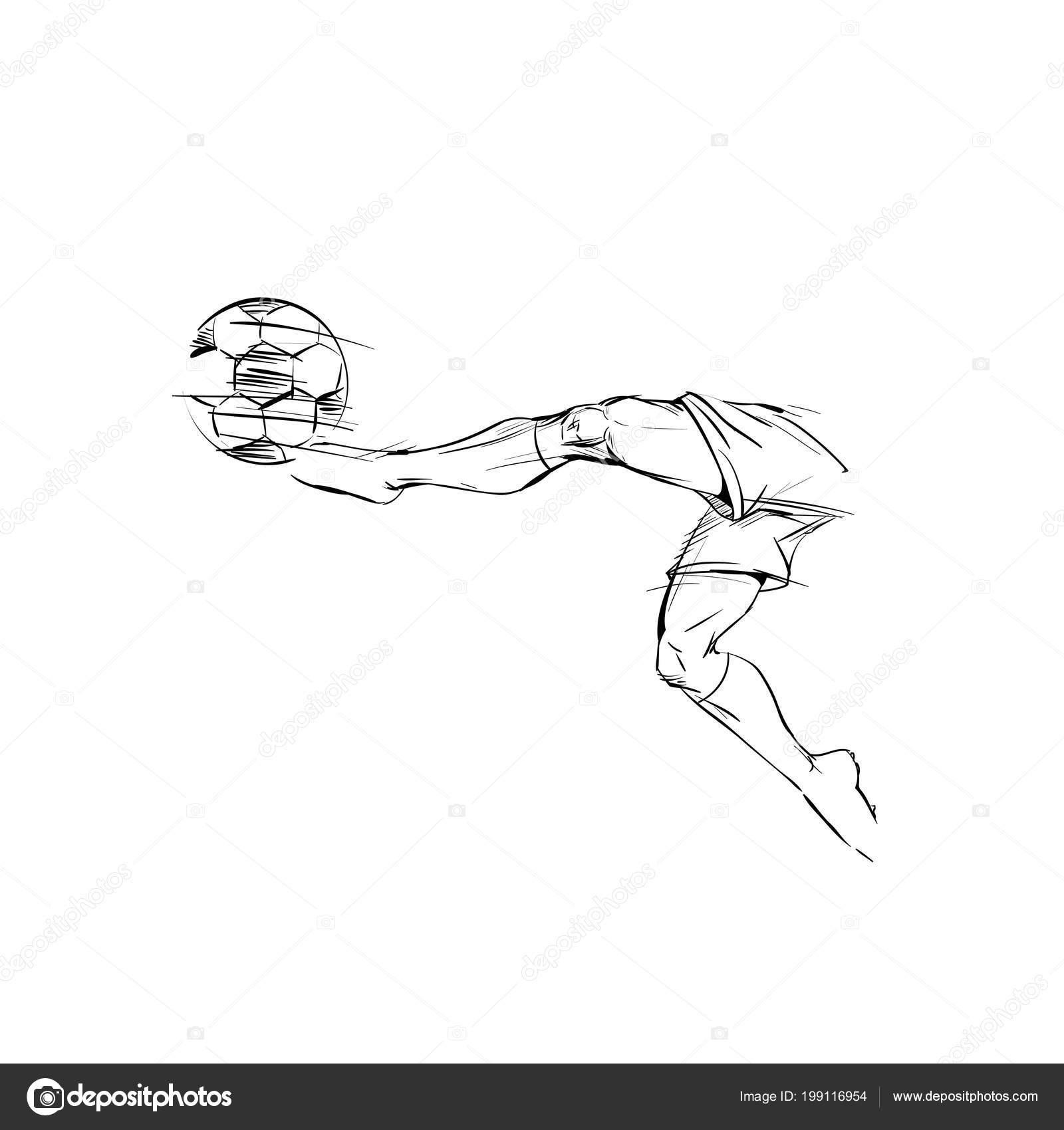Fussball Spieler Sprung Kickt Den Ball Ein Tor Die Hand