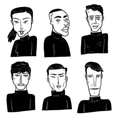 Collection of diverse hand drawn faces in black and white with doodle style, vector illustration.