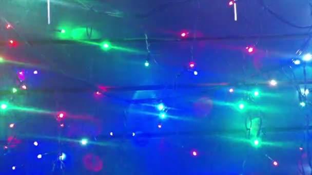 Oświetlenie Girlandy Choinki Dekoracje Ze świecącymi Migające światła Dynamiczne Ruch Materiału Filmowe Wakacje