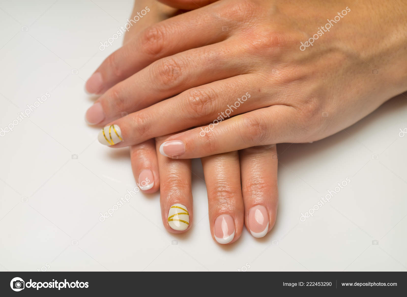 French Manicure And Nail Gel Polish The Decoration Of The