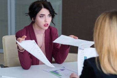 boss reproach employee business woman reprimand