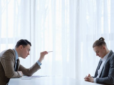 boss scold employee business man reprimand reproof