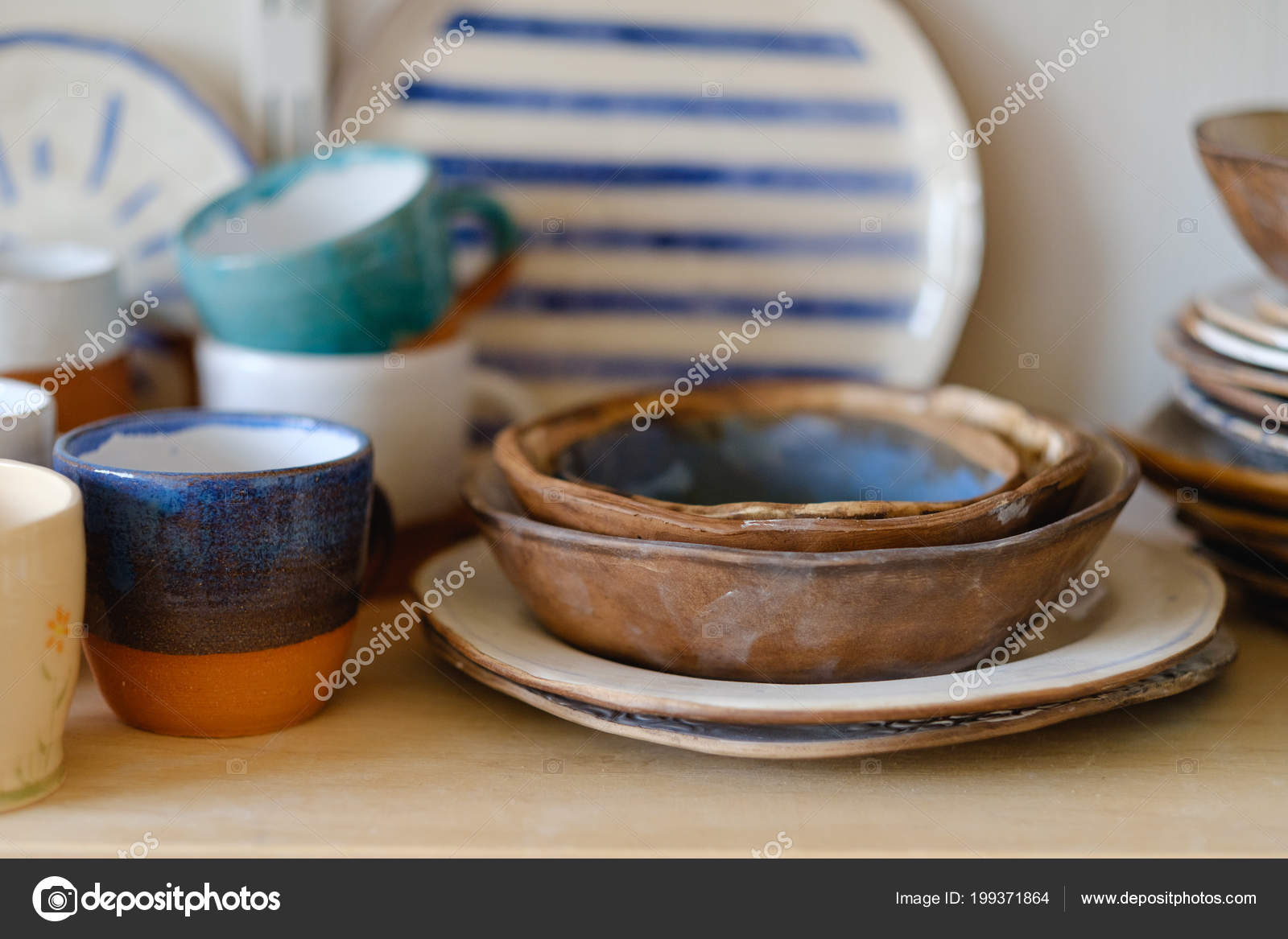 Handmade Crockery Handmade Crockery Artisan Clay Plate Bowl Cup Mug Stock Photo C Golubovy 199371864
