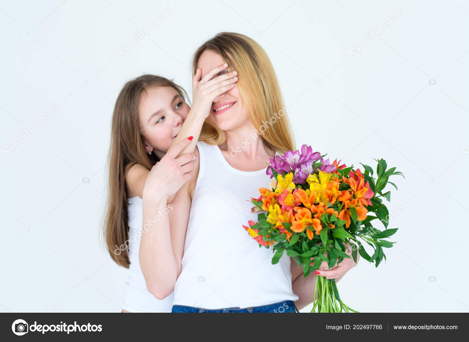 happy family loving daughter surprise flower bunch stock photo