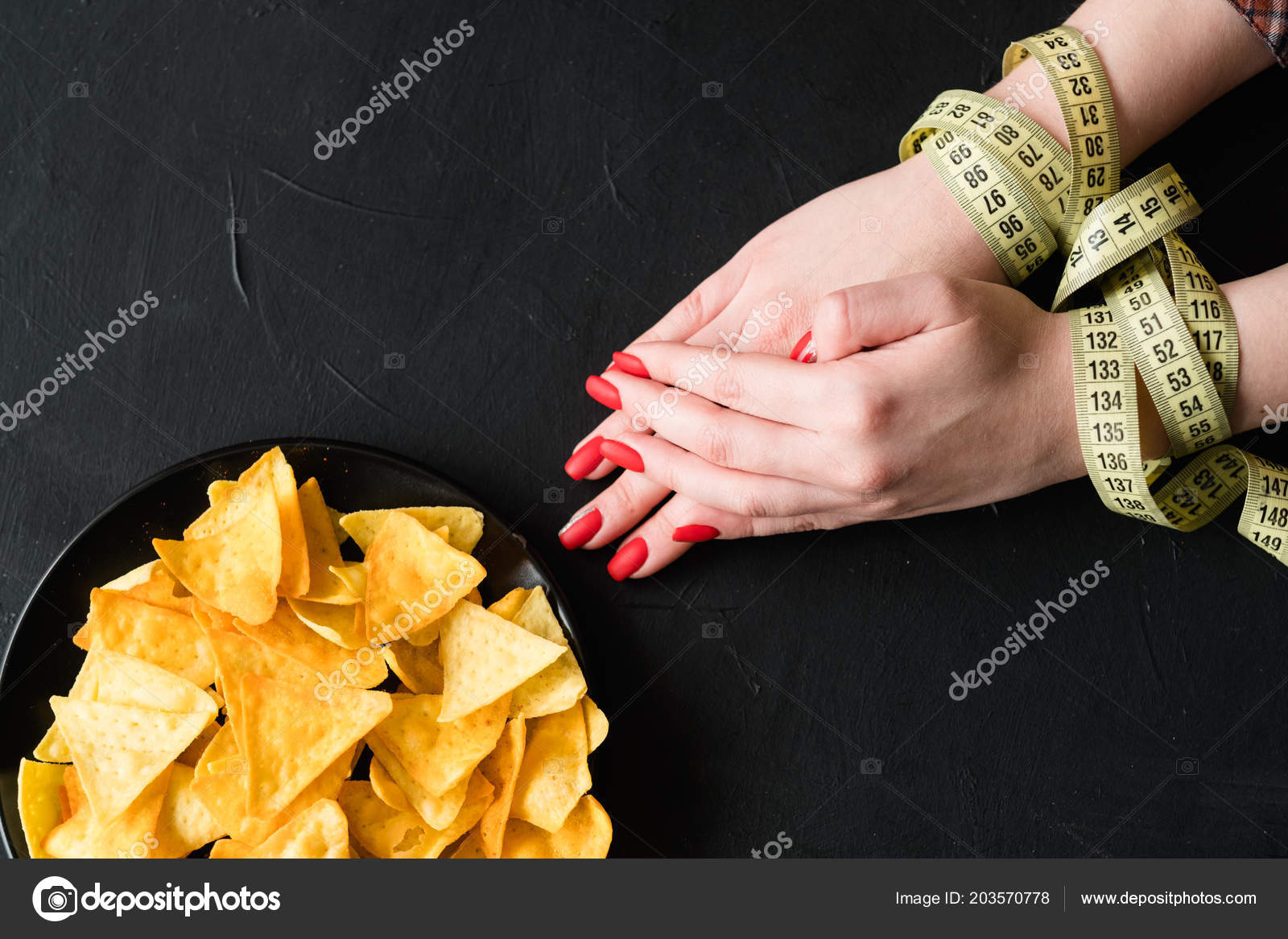 balanced nutrition fitness organic diet chips hand stock photo