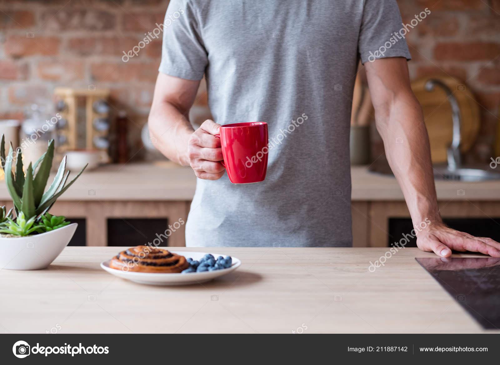 Morning Food Bad Breakfast Habit Man Red Mug Stock Photo
