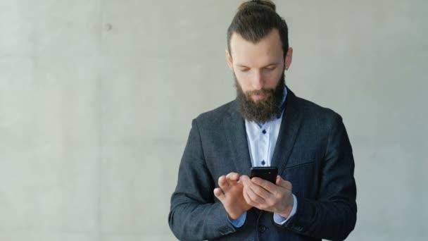 business success smiling man read news phone