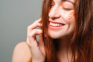 glitter makeup fresh skin youth beauty female
