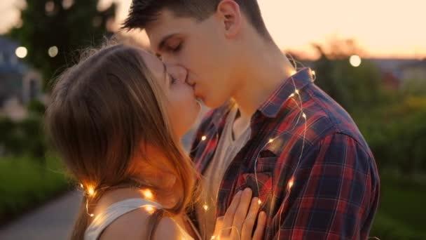 happiness couple kiss sunset romantic date