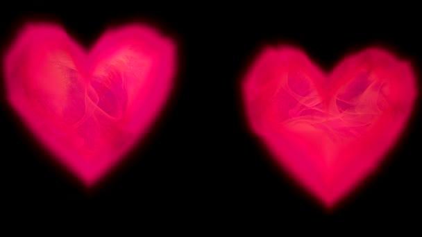 romantické překrytí dva neon horké růžové zářící srdce