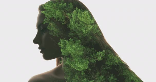 nature portrait face contouring green trees woman