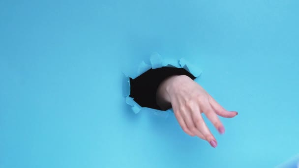 Facebook icon global communication hand paper hole Royalty Free Stock Footage