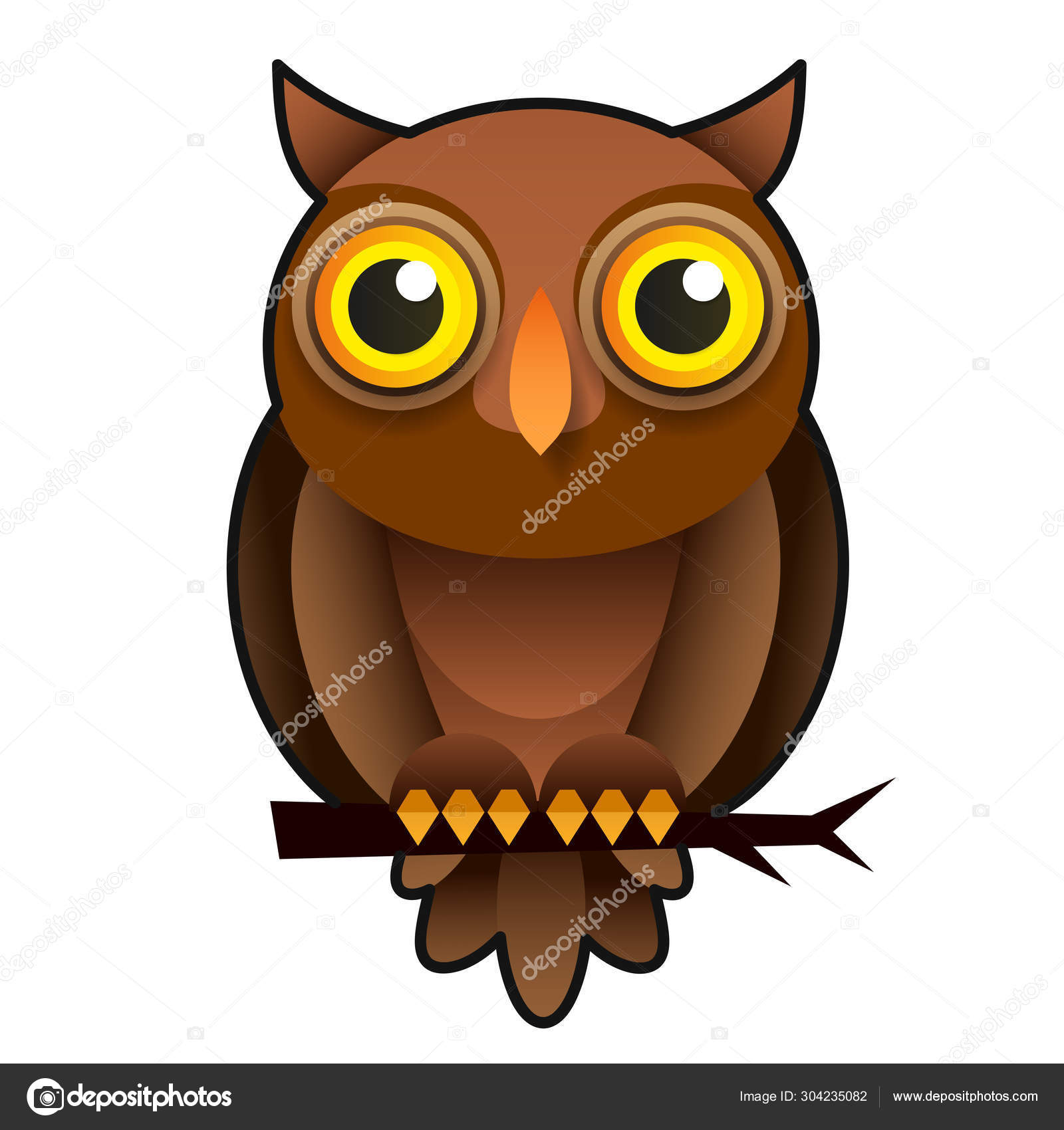 Cartoon Owl Animal Wildlife Cartoon Character Modern Vector Illustration Stock Vector C Iaroslav Brylov 304235082
