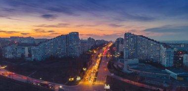 Beautiful night city. The gates of the city of Chisinau, Moldova