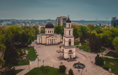 Aerial drone view  of the Moldovan Orthodox Church in Central Ch