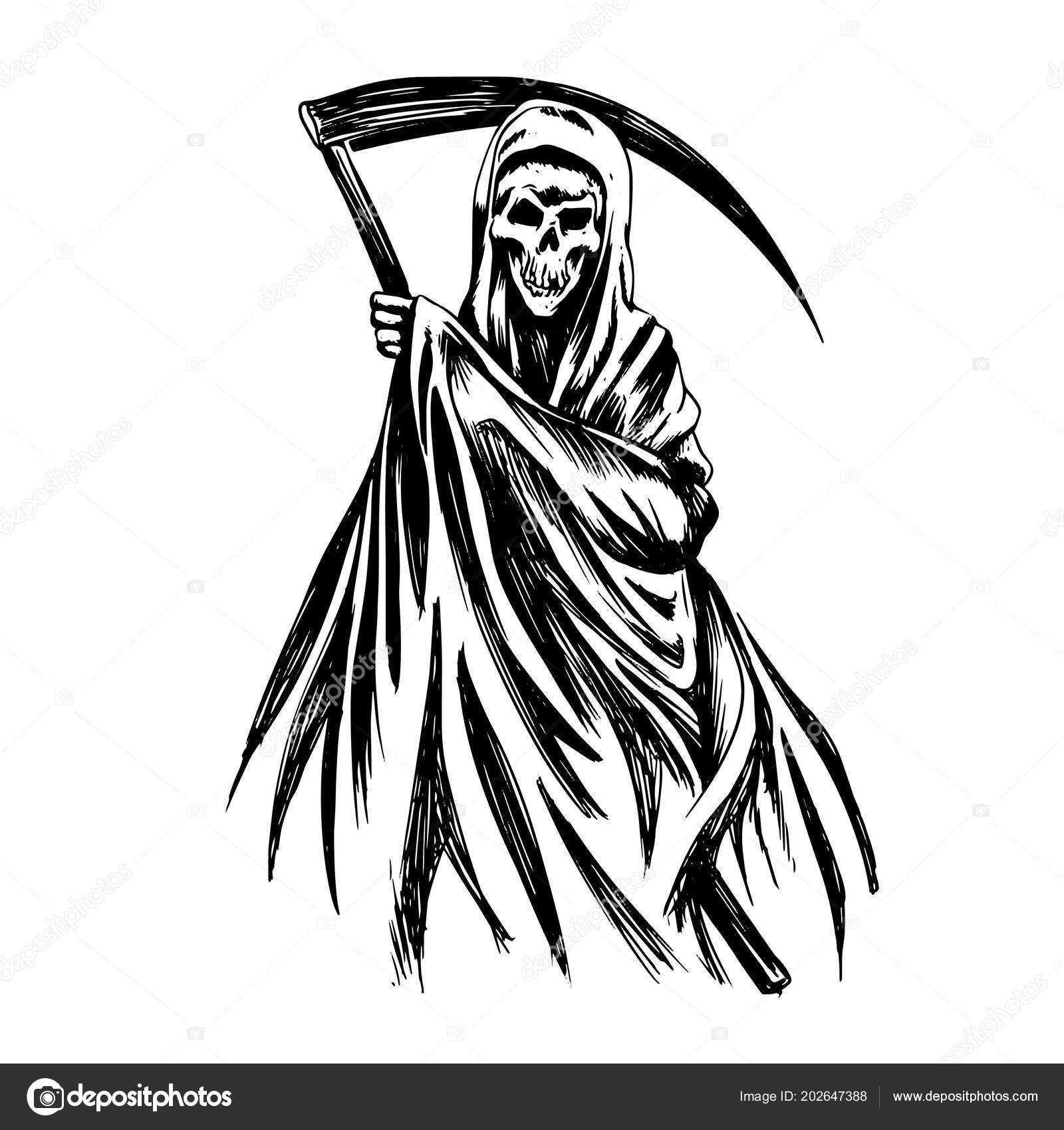 Hand inked grim reaper illustration black white stock