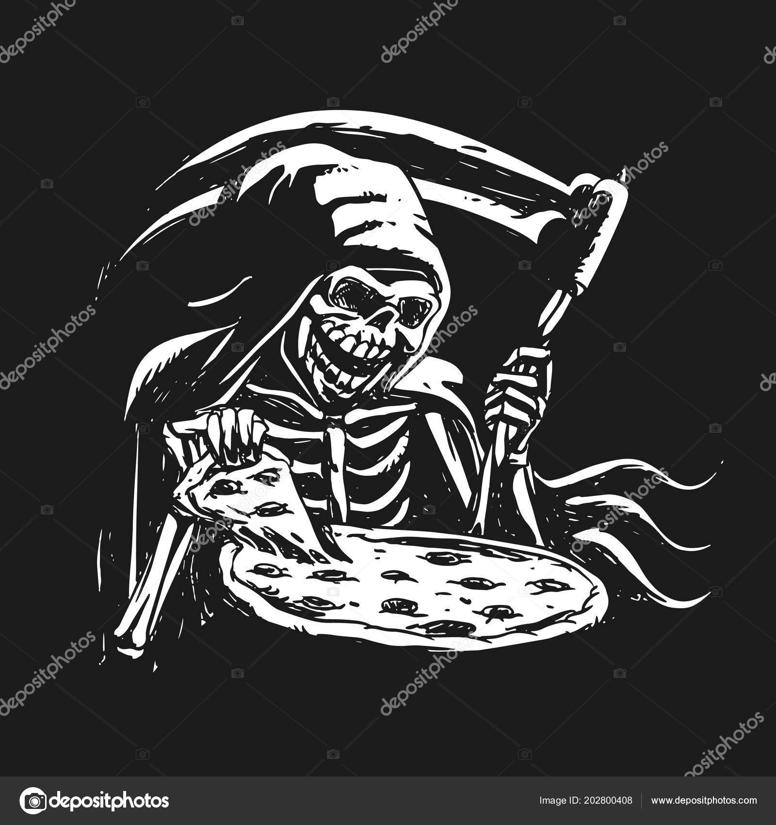 Grim Reaper Essen Pizza Schwarz Weiß Stockvektor Milesthone
