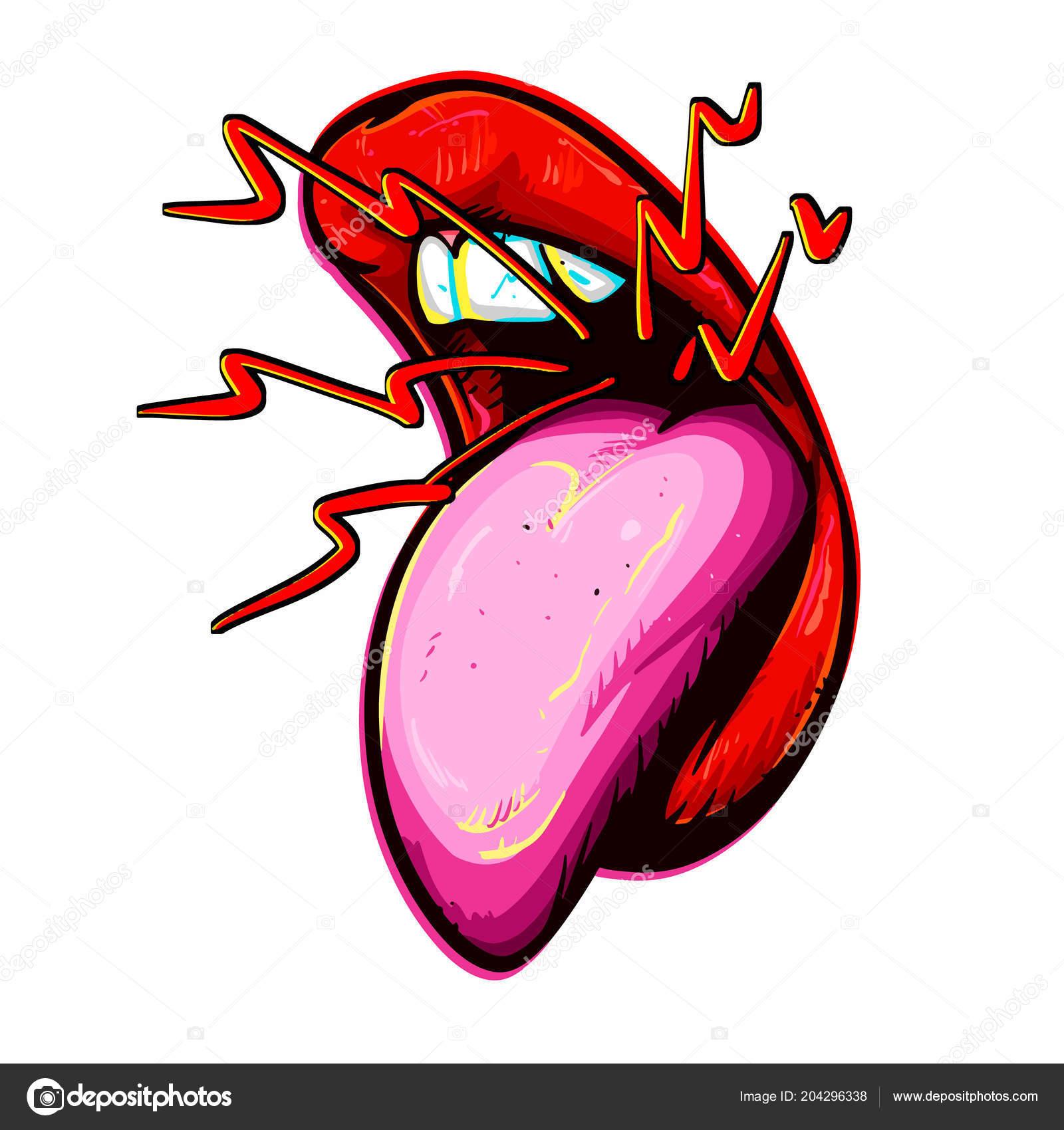 boca aberta com dentes língua estilo desenhos animados boca mulher