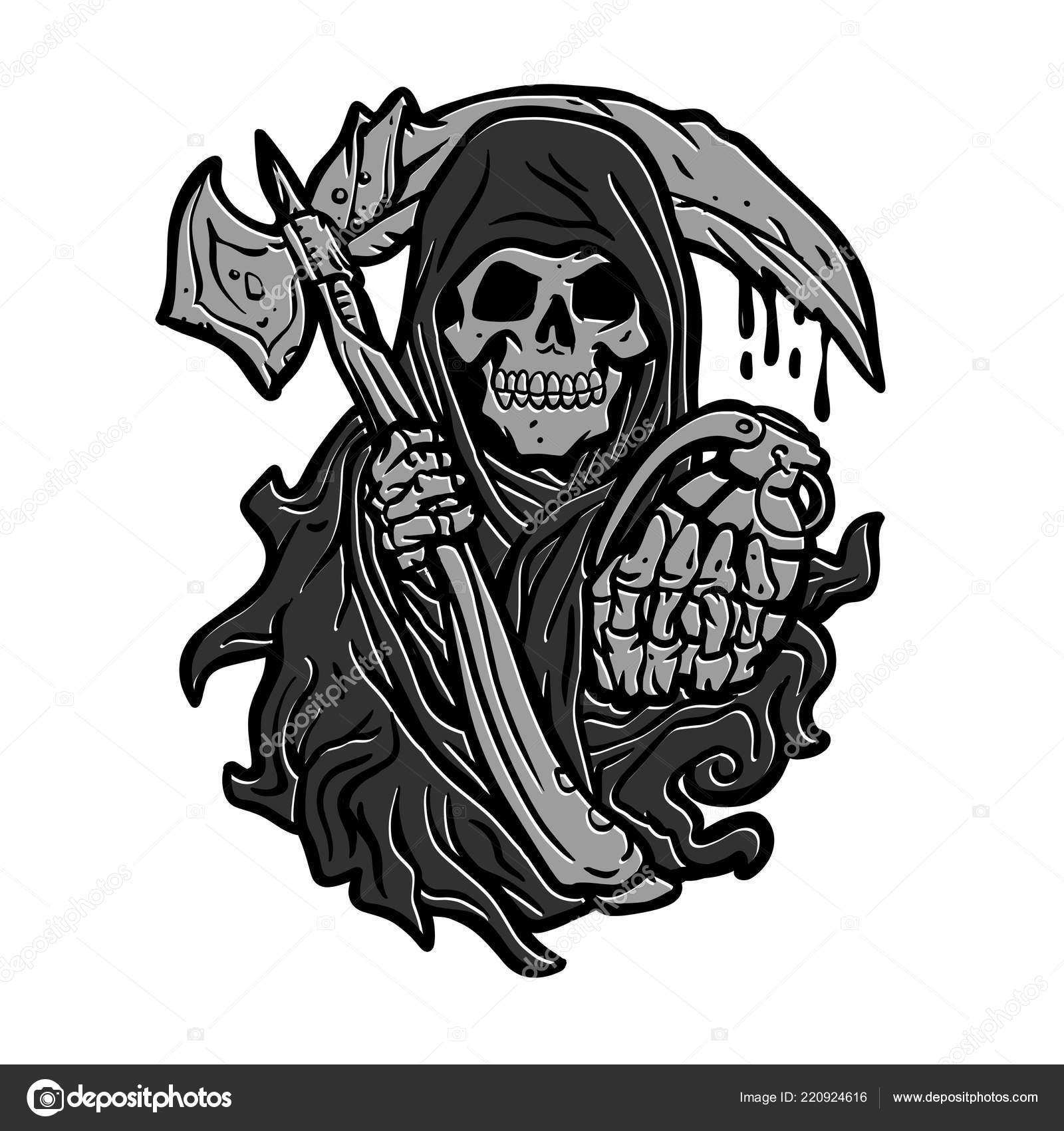 Skull Grim Reaper Sickle Grenade — Stock Photo © Milesthone