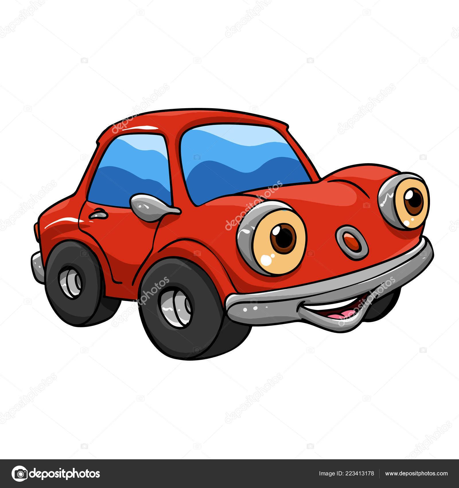 Funny Cars Rouge Voiture Dessin Animé Illustration