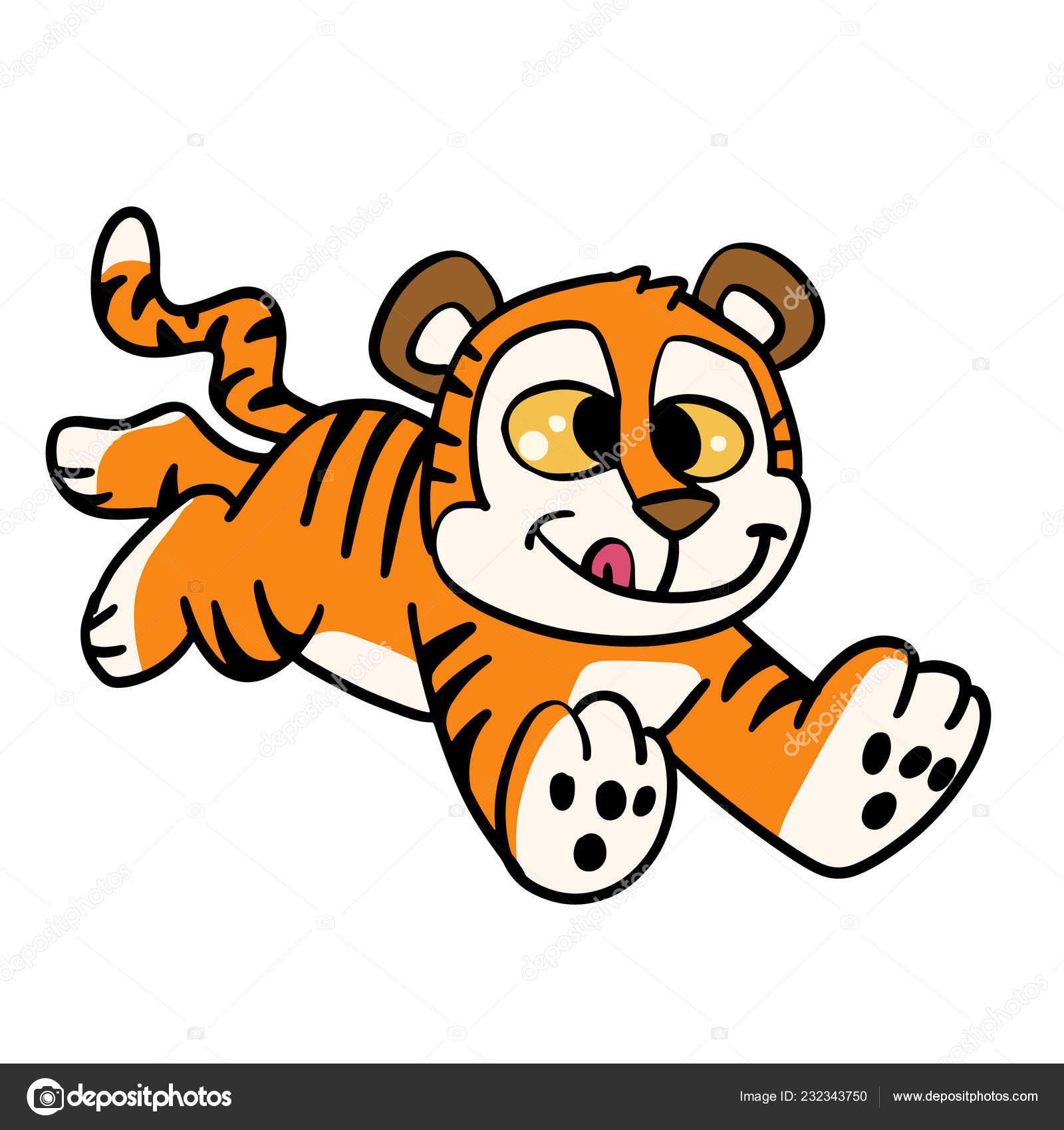 Pictures Cartoon Tiger Running Happy Tiger Run Cartoon Stock Vector C Milesthone 232343750
