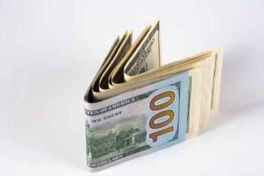 Dolar. Doları banknot, kavram ve fikir zaman değeri ve para, mülk iş ve finans kavramları üzerinde model. Retro yeşil.