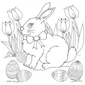 Fotografie Easter Bunny in flowers with Easter eggs. Coloring page, illustration