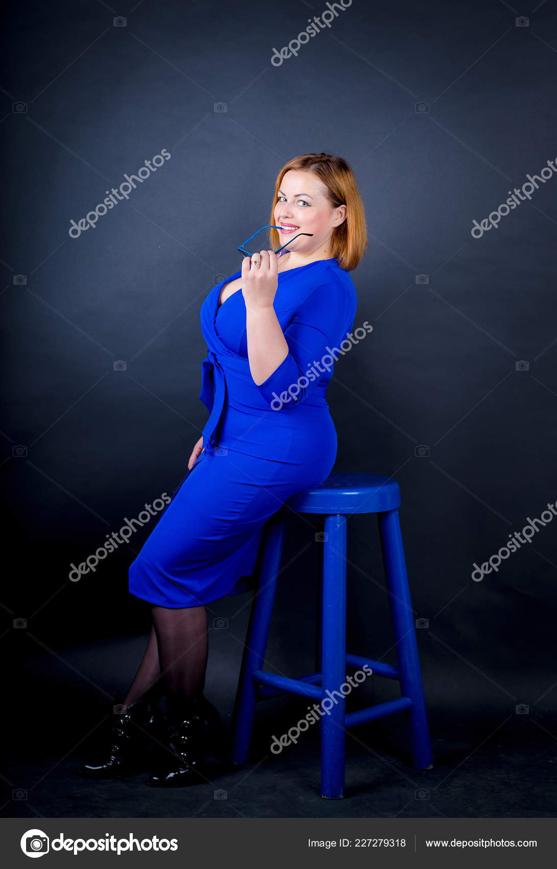 Beautiful Chubby Girl Blue Elegant Dress Black Background Sexy Size