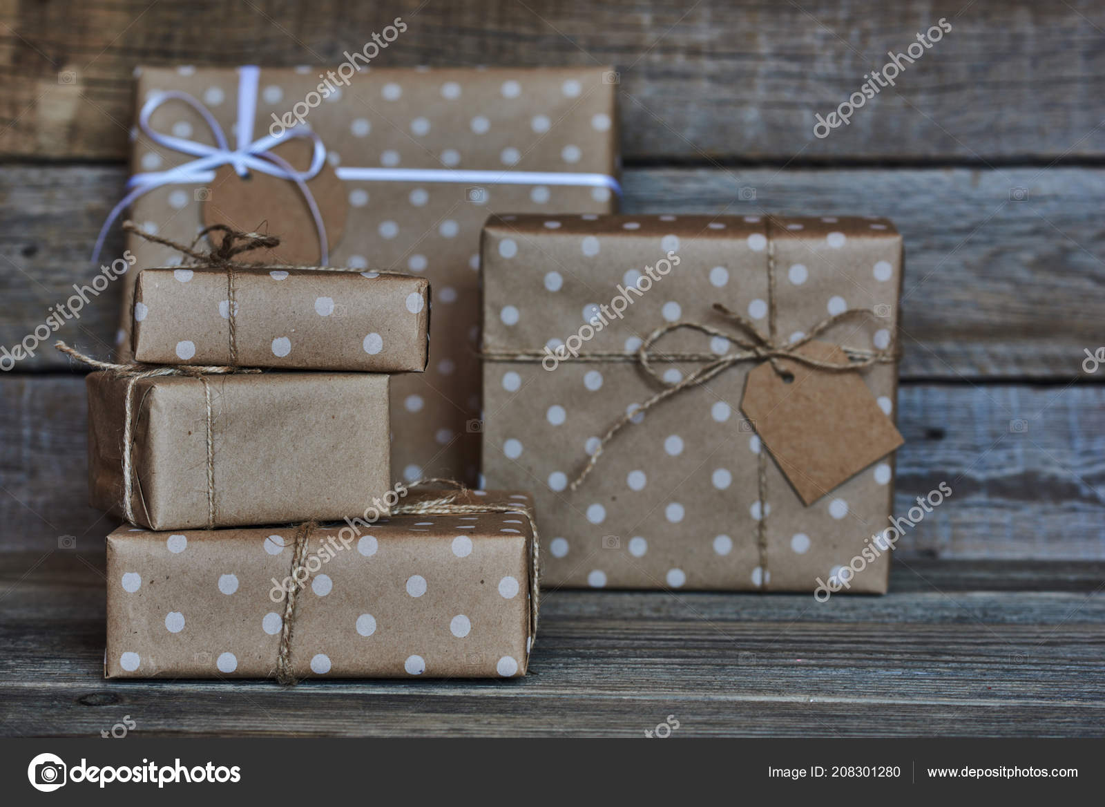 Handmade Gift Boxes Wrapped Eco Friendly Craft Paper Tied Twine
