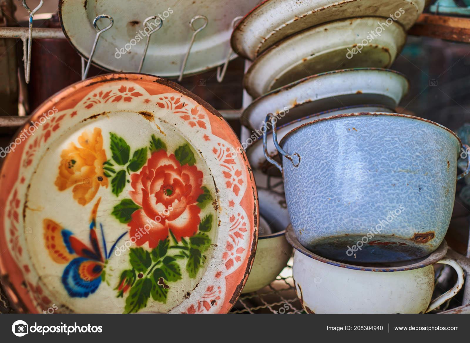 Eingestellt Von Alten Küchenutensilien Retro Ausrüstung Des Kochens