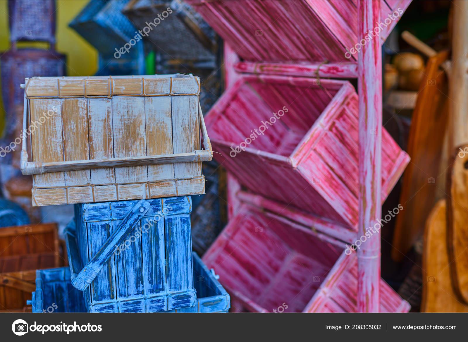 Blick Auf Eine Bunte Möbel Von Schubladen Shabby Vintage Stil