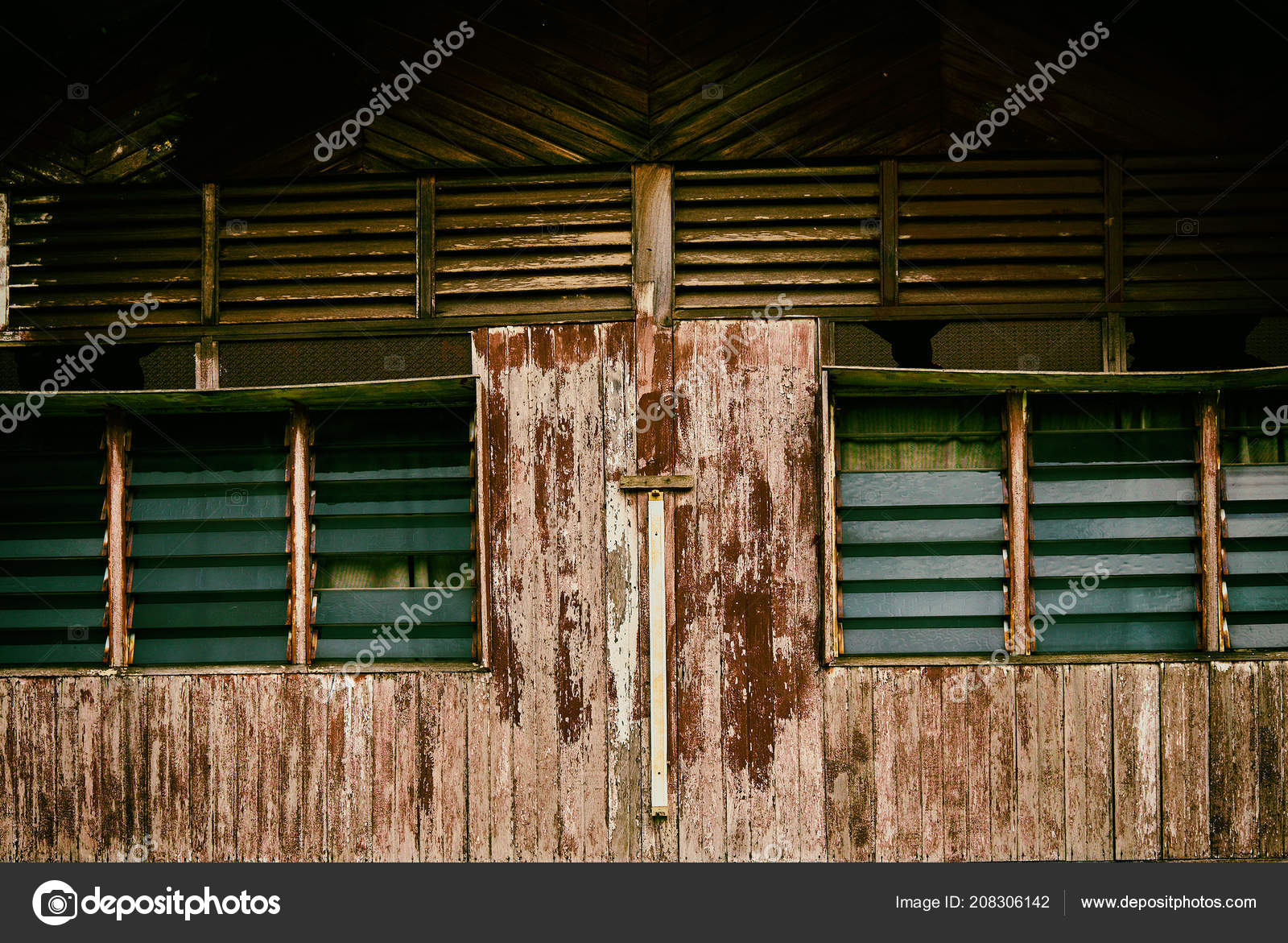 Weathered Old House Windows Peeling Paint Wooden Plank Abstract Background Stock Photo C Eskstock Gmail Com 208306142