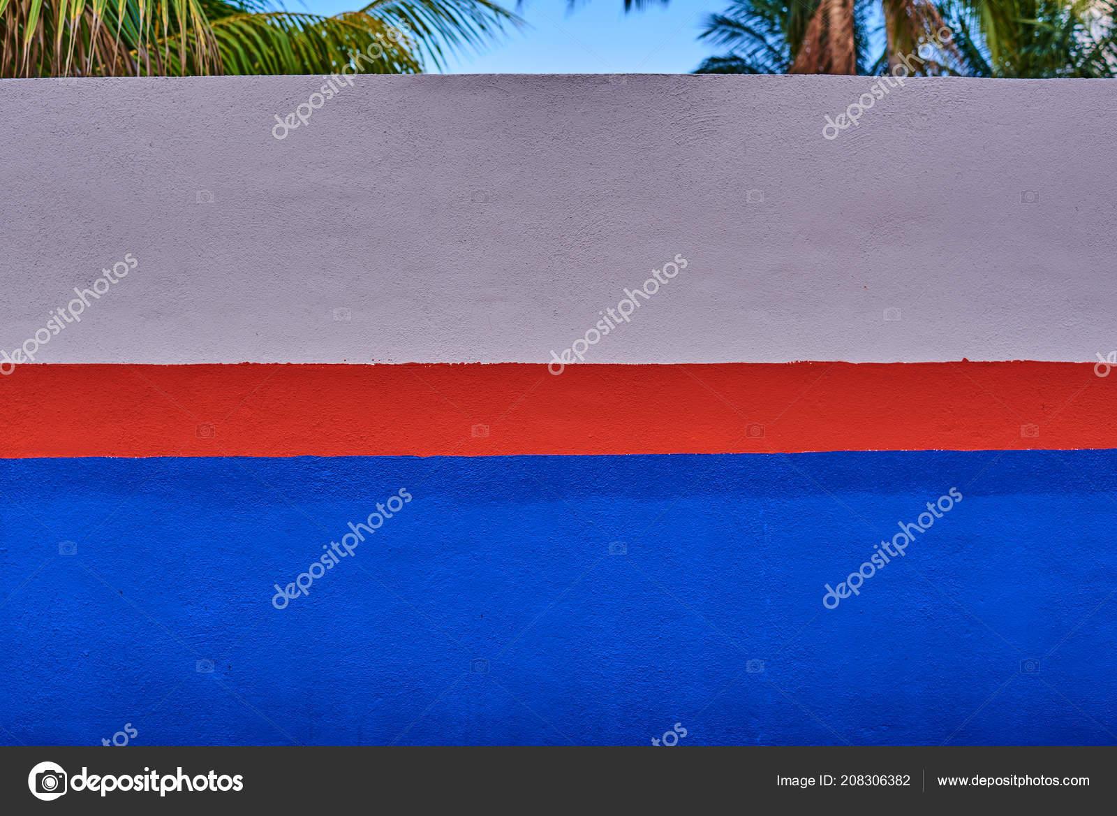 Rouge Blanche Bleue Peinture Sur Mur Ciment Texture Mur Avec