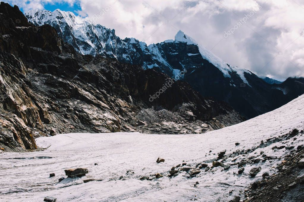 The beautiful landscape of the Himalaya mountains, Nepal. Layered mountains. Nature background. Amazing landscape with high Himalayan mountains, blue sky with clouds in Nepal. Travel concept.