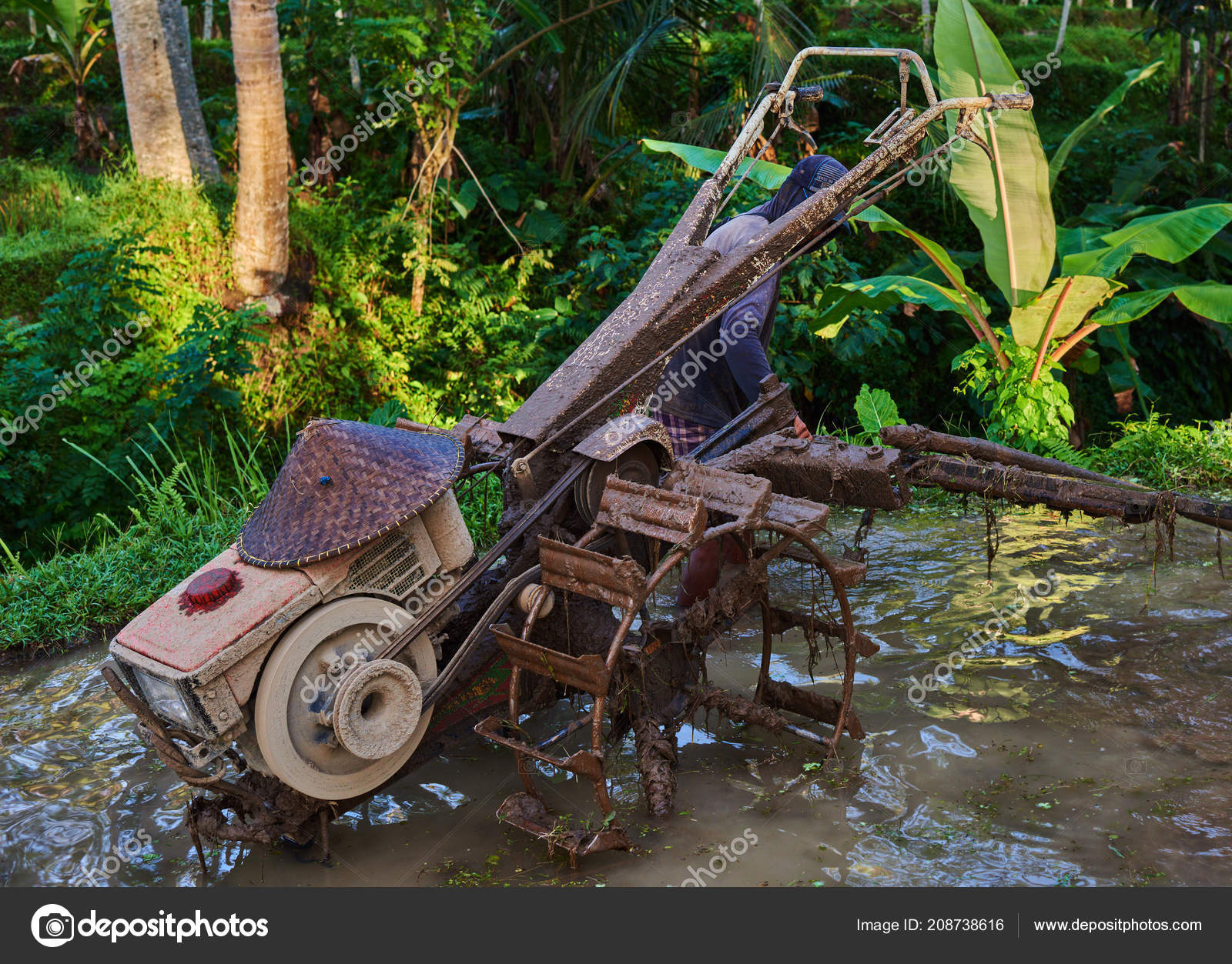 Motor Usado Para Arar Bomba Aplanar Terraza Arroz Cultivo