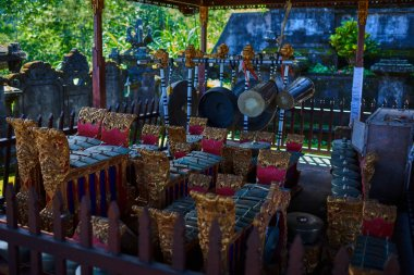 Traditional percussion music instruments Bali, Indonesia. Traditional musical instruments used in Gamelan orchestra. Gamelan instruments.