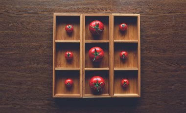 herry tomatoes laid out in a square the size of the wooden form with a cell for each tomato