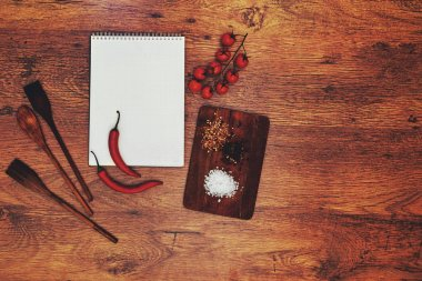 In the kitchen, the restaurant is a notebook student chefs left him lying next to a cutting board