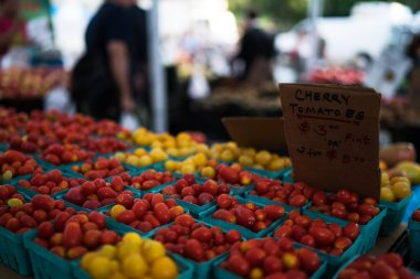 Fresh tomatoes on farmers market, California, USA. Pint baskets of organic colorful tomatoes on the counter at a farmers market. Organic vegetable stall. Selling fresh vegetables. Bio and eco food.