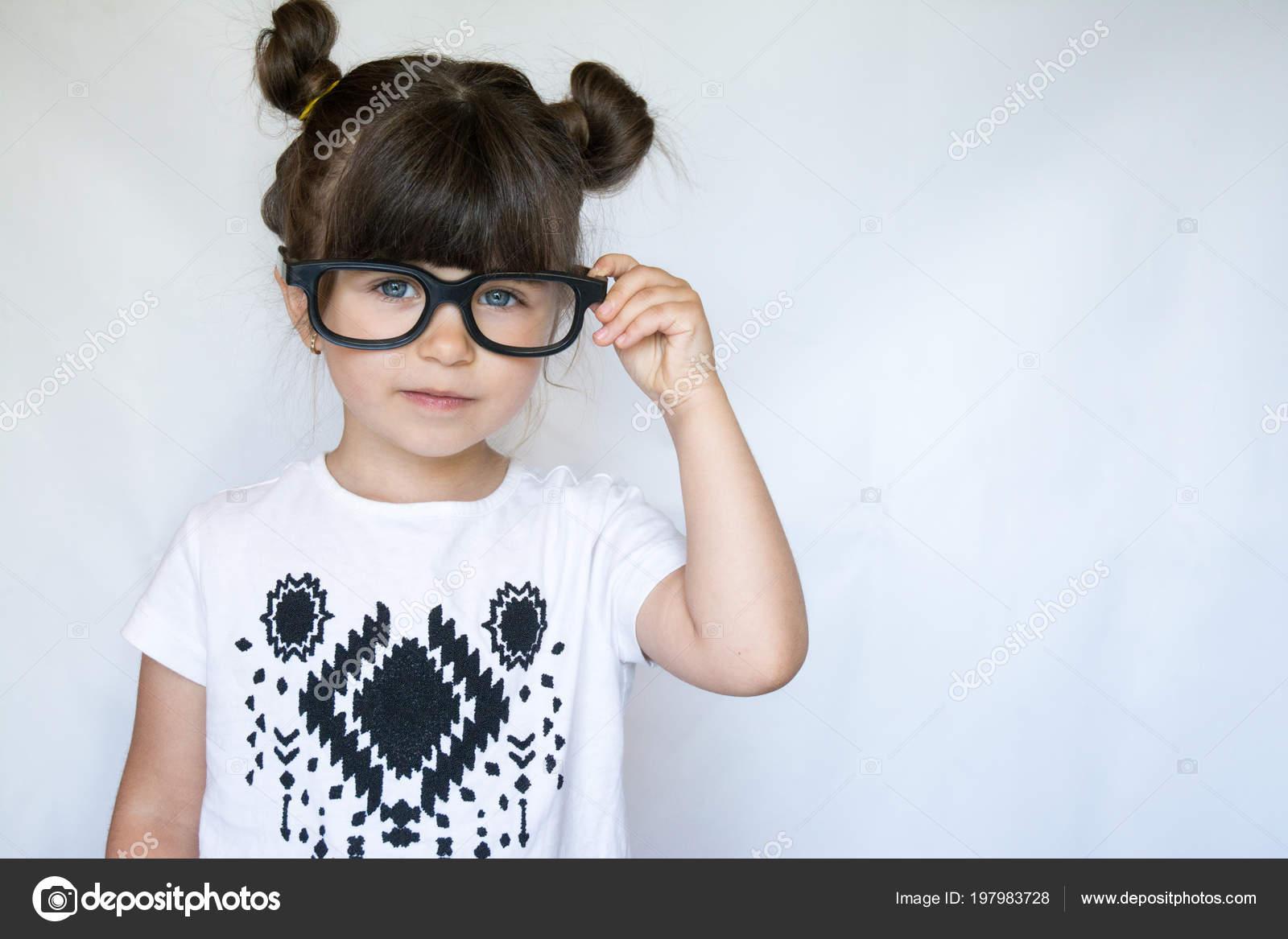 Stylish Girl Glasses Happy Small Brunette Kid Blue Eyes Looking